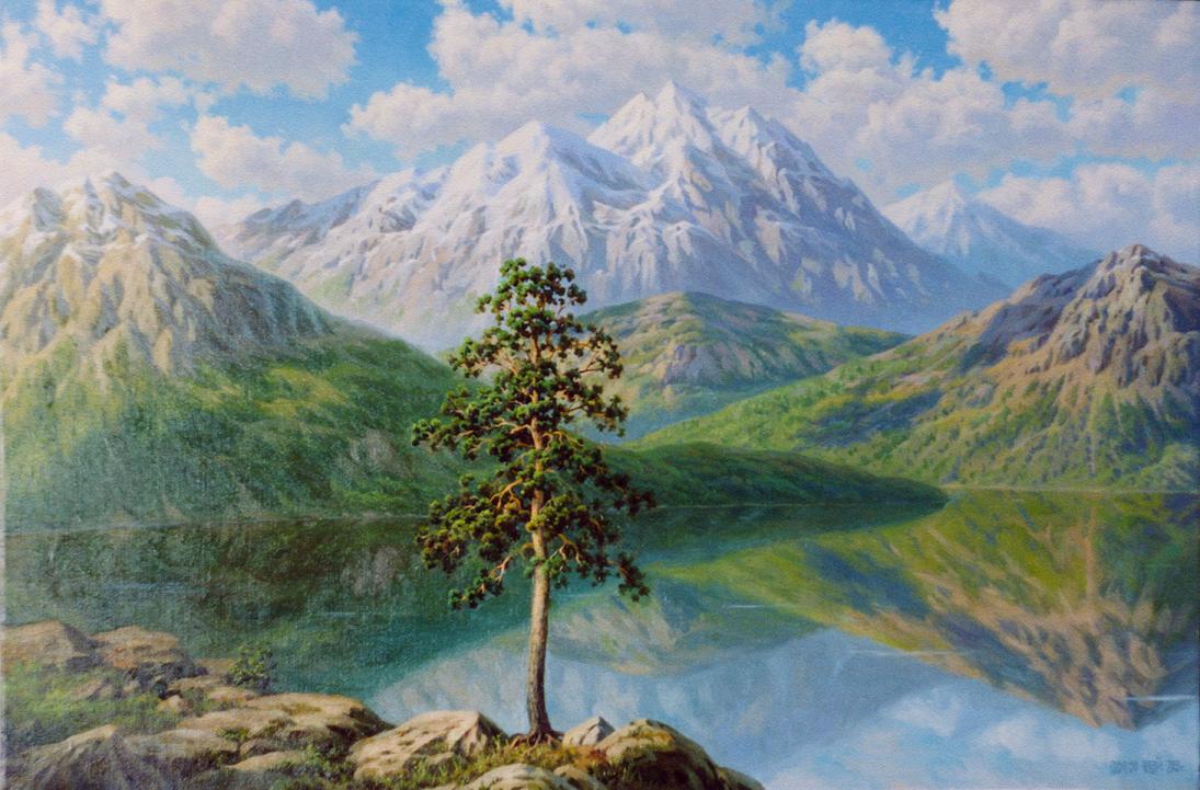 Тишина озеро в горах 2003 г холст